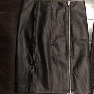 F21 Black faux leather knee length skirt
